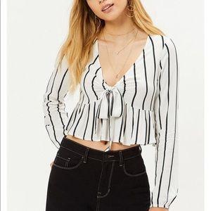 LA Hearts Striped Tie Front Long Sleeve Top